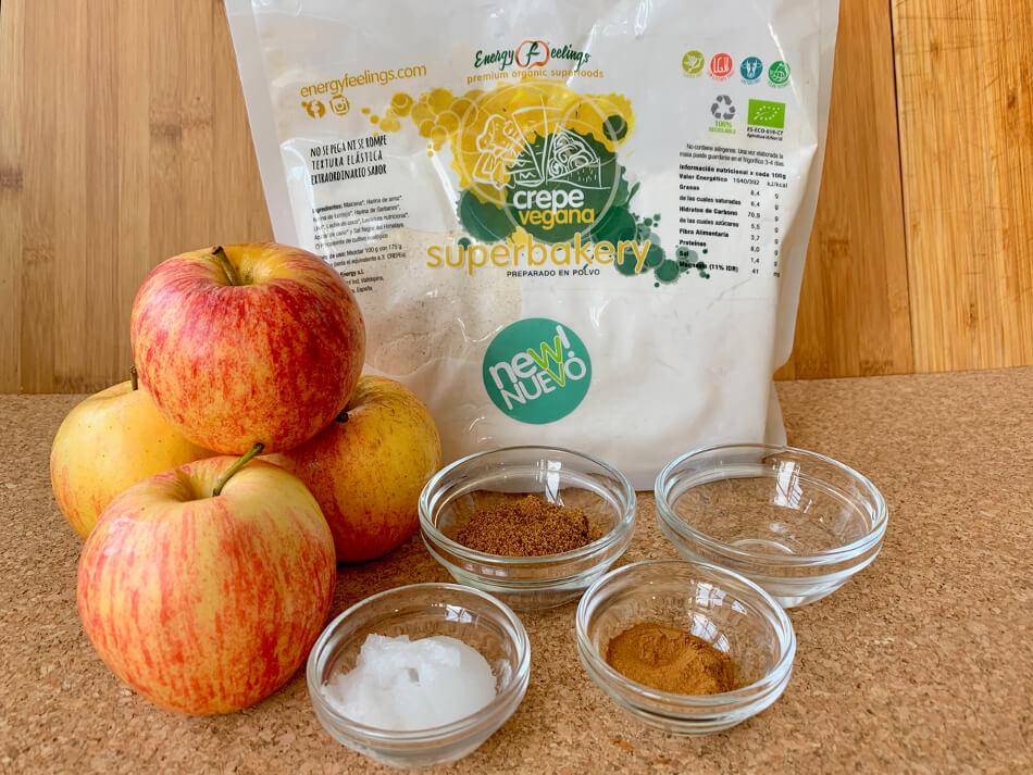 Crepe vegana de manzana y canela 1